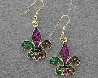 Fleur De Lis Mardi Gras Earrings Gold