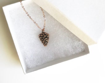Pine Cone Necklace, Nature, Forest, Rose Gold Necklace, Rose Gold Pine Cone Necklace