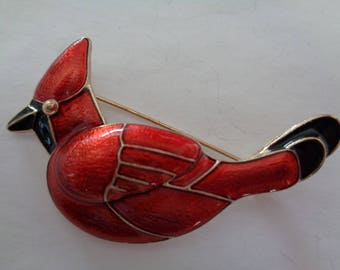 Fabulous Unsigned Vintage Cardinal Brooch/Pin