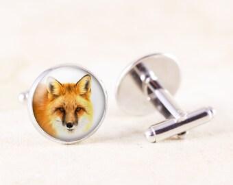 Red Fox Cufflinks - Silver Cuff Links Men, Wildlife Photography Cuff Links, Fox Animal Cufflinks, Silver Fox Cufflinks