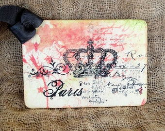 French Paris Crown Gift or Scrapbook Tags or Magnet #610