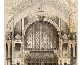 Vintage Architectural Print - L'Exposition de Paris - Art Print - French Decor - Paris Architecture Drawing