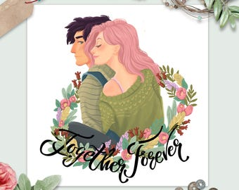Romantic illustration for St. Valentine's Day with a couple in love. A young guy with a girl surrounded by a flower wreath. lettering quote