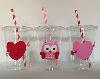 Valentine party cups, Valentine Birthday Party Cups, Valentine favors
