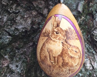 Rabbit pair pyrography Ornament egg gourd