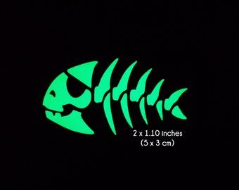 Pirate Fish Skeleton Bone- Glow in the Dark Decal / Sticker - Macbooks, Andriod, Halloween, Laptops, Car Windows