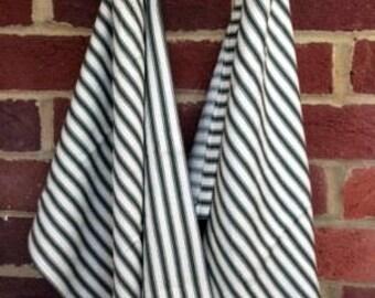 Set of 2 Striped 100% Cotton Tea Towels - Dark Olive Green & Cream Striped Kitchen Towels