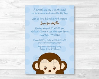 Cute Monkey Baby Shower Invitation / Monkey Baby Shower Invite / Blue Monkey / Boy Monkey / Baby Boy Shower / PRINTABLE A354