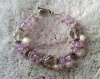 transparent and purple faceted Beads Bracelet
