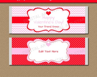 Valentines Day Chocolate Bar Wrappers - Printable Candy Wrappers - Pink Red Valentine Party Favors - EDITABLE Valentine Candy Wrappers V1