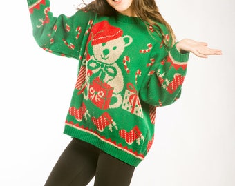 Vintage Green & Red Teddy Bear Ugly Christmas Sweater Size XXL | Winter Holiday Jumper 7CC