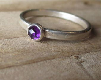 Simple Sterling and Fine Silver Deep Purple Amethyst Ring - February Birthstone