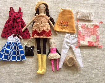 Reserved for Jane, please do not buy unless you are she ,doll set, doll with toy owl, doll, dolls to dress, rag doll