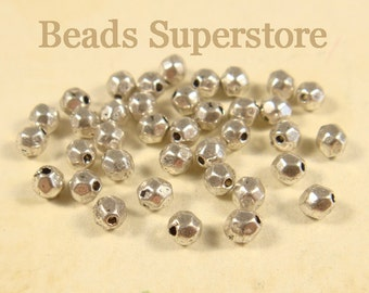 4 mm x 3.5 mm Antique Silver Spacer Bead - Nickel Free, Lead Free and Cadmium Free - 50 pcs