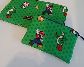 NINTENDO MARIO YOSHI 2 Piece Set Zippered Wallet and Coin Pouch Make Up Bag Pencil Case Anime Cosplay