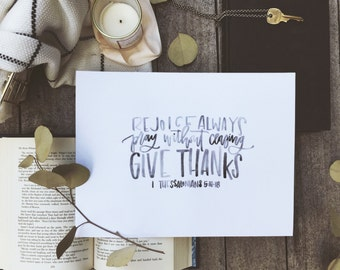 Watercolor Bible Verse | Give Thanks | Gift Idea | Home Decor