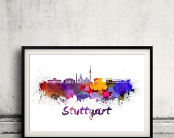 Stuttgart skyline in watercolor over white background with name of city 8x10 in. to 12x16 in. Poster Wall art Illustration Print  - SKU 0343