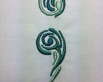 Paisley Semicolon machine embroidery design 4x4
