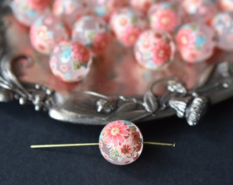 1pc 12mm Perle Japanese Tensha bead flowers decal pink color matte frosted