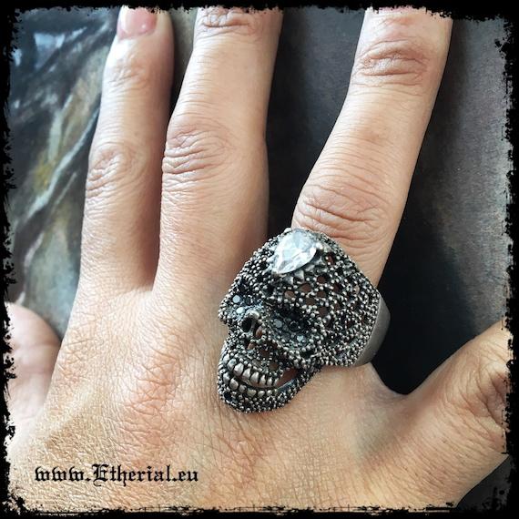 Etherial Jewelry - Rock Chic Talisman Luxury Biker Custom Handmade Artisan Pure Sterling Silver .925 Handcrafted Bespoke Skull Badass Ring