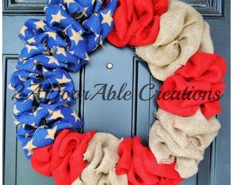 Flag Wreath - Patriotic Wreath - Burlap Wreath - 4th of July Wreath - American Flag Wreath - Summer Wreath