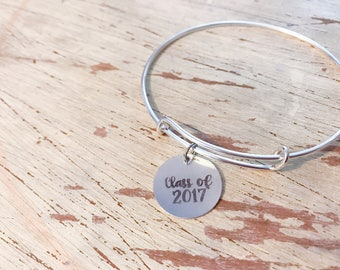 Graduation Gift.  Engraved Graduation Charm.  Class of 2017