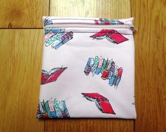 Sandwich Baggie Waterproof Lined Zip Pouch - Straw Case - Sandwich bag - Snack Bag - Bikini Bag - Lunch Bag Make Up Bag Matilda Books
