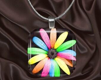 Rainbow Daisy Glass Tile Pendant with chain(CuRa6.1)
