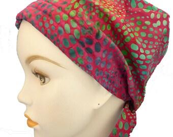 Hand Dyed Batik Cancer Hat Chemo Scarf Cap Head Wrap Turban Hair Loss Head Cover Bad Hair Day Calypso 25
