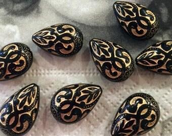 Vintage Pear Shaped Beads Engraved Fancy Jet Black & Gold - 8