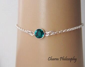 May Birthstone Bracelet - Swarovski Emerald Birthstone Anklet - 925 Sterling Silver - Dainty Minimalist Bracelet