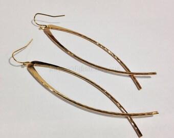Gold Hoop Earrings - Fish Hoop Earrings - Hammered Hoop Earrings - Modern Hoops - Threader Hoops - Minimalist Hoops - Ichthus Earrings