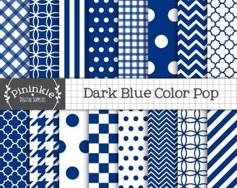 Blue Digital Paper - Dark Blue Scrapbooking Paper - Instant Download - Commercial Use - blue chevron, blue polka dots, blue quatrefoil