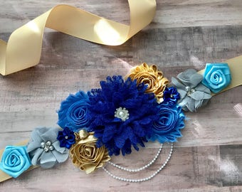 Royal Blue and Gold Maternity Sash It's a boy Flower sash Belly Sash Gender Reveal Party Baby Shower Gift Keepsake