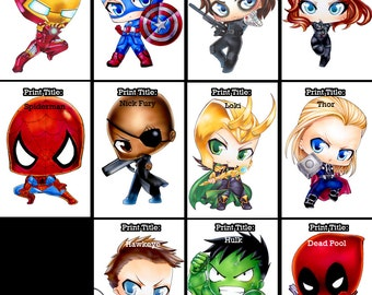 Avengers and Marvel Chibi Prints