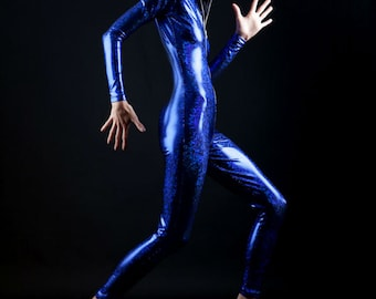 Holographic Deep Blue Ocean Runner Bodysuit for Conversations with Whales and Mermaid Hunting