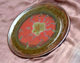 Ceramic Serving  Platter. Unique Christmas Gift.  Nature Inspired Organic Ceramic Plate.  Red - Green Large Platter. Hand Built Pottery.