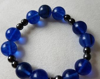 Blueberry quartz crystal and hematite bead bracelet