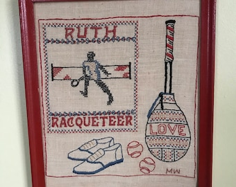 Vintage Ruth Raqueteering Needlepoint