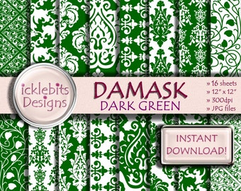 "Green Damask Digital Paper Pack, ""DARK GREEN DAMASK"" For Scrapbooking,high resolution, damask digital paper, lace digital paper, Design #53"