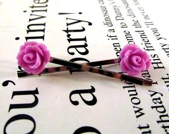 Tiny purple rose bobby pin 2pc