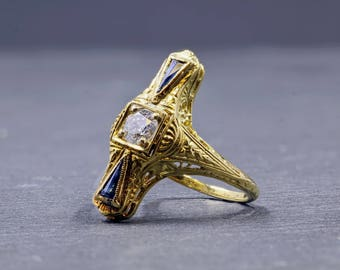 Yellow Gold, 18 Kt, Diamond, Sapphire, Filigree, Vintage, Ring