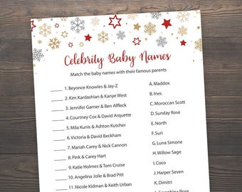 Winter Baby Shower Games, Celebrity Baby Name Game, Christmas Baby Shower, Snowflakes, Printable Baby Shower, Celebrity Baby Names, S028