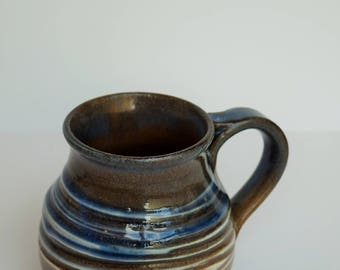 Large Striped Blue, White and Brown Mug; Large Coffee Mug; Large Tea Mug