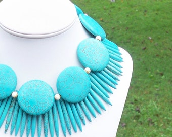 HUGE Turquoise Statement Necklace Double Strand Turquoise Necklace Turquoise Spike Necklace 40mm Round Turquoise Tribal Necklace Chunky