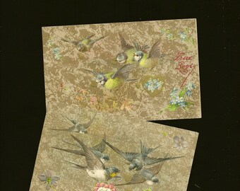 Lightly Embossed Pair of Antique Valentine's Day Postcards Birds and Flowers Tue Love Swallows and Blue and Yellow Birds 1908