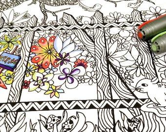 Adult Coloring Page Spring Scene Woodland Doodle Nature Design Printable Drawing Kids Art Activity