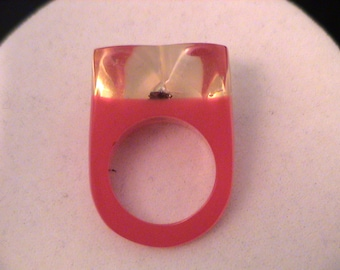 Fun Vintage Lucite Embedded Beetle Bug Heart Shaped Ring