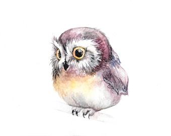 Cute Owl Watercolour Print