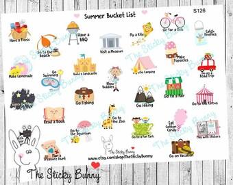 Summer Bucket List - Planner Stickers for Erin Condren, Happy Planner, Kikkik, Filofax (S126)